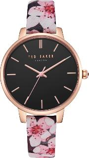Women's Kate Floral Leather Strap Watch