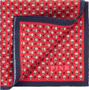 Heart And Flower Print Silk Pocket Square