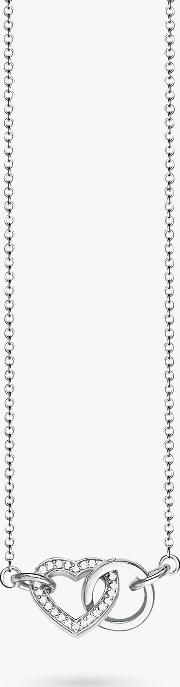 Glam & Soul Cubic Zirconia Heart Circle Necklace