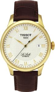 T41541373 Men's Le Locle Date Leather Strap Watch