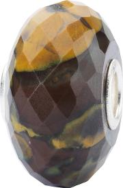 Sterling Silver Calcite Rock Bead Charm, Brown