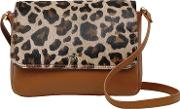 Faux Leopard Leather Small Flapover Cross Body Bag