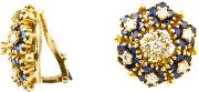 1980s 18ct Gold Sapphire Diamond Cluster Clip On Earrings