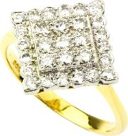 1990s 18ct Gold 29 Stone 0.58ct Diamond Lozenge Ring