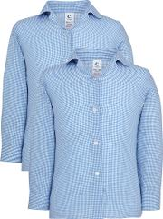 Girls' School Long Sleeve Checked Blouse, Pack Of 2