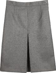 Girls' Wool Mix Inverted Pleat School Skirt