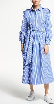 Frill Sleeve Stripe Maxi Dress