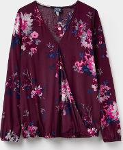 Floral 124359 Womens Hallie Wrap Over Blouse Size 12 Joules Uk