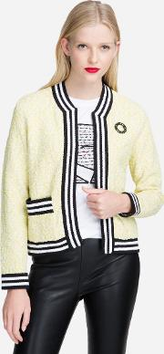 Boucle Cardigan With Striped Trim