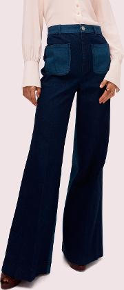 Colorblock Denim Flare Pant