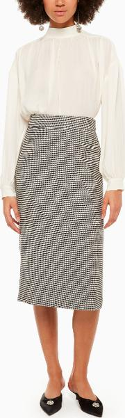 Houndstooth Wool Pencil Skirt