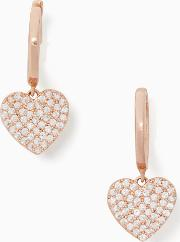 Yours Truly Pave Heart Drop Earrings