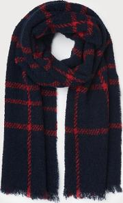 Alanna Navy Red Wool Scarf