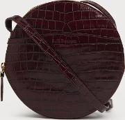Luna Wine Croc Effect Shoulder Bag