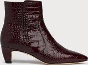 Meadow Wine Croc Effect Ankle Boots