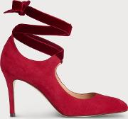 Mesha Red Suede Closed Courts