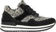 Glittered Faux Leather Running Sneakers