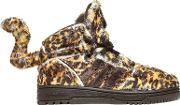 Leopard Printed Plush Sneakers