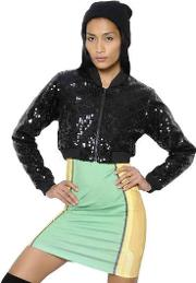 Quilted Sequined Cropped Bomber Jacket