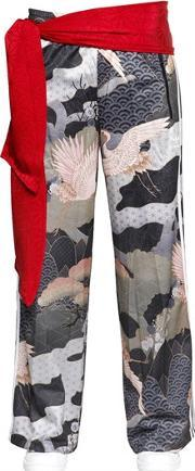 Printed Techno Interlock Wide Leg Pants