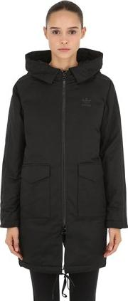 Hooded Cotton Twill Down Parka