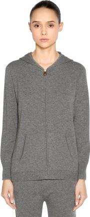 Hooded Zip Up Cashmere Sweater