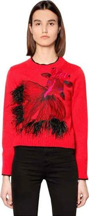Carp Wool Blend Knit Sweater W Feathers
