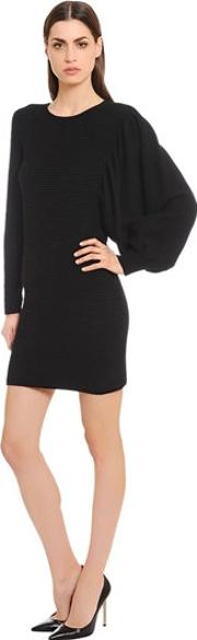 Cashmere Knit Dress Wasymmetric Sleeves