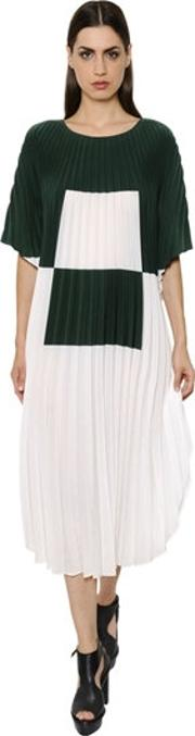 Pleated Washed Crepe Caftan Dress