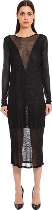Sheer Glitter Knit Dress