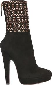 135mm Studded Suede Boots