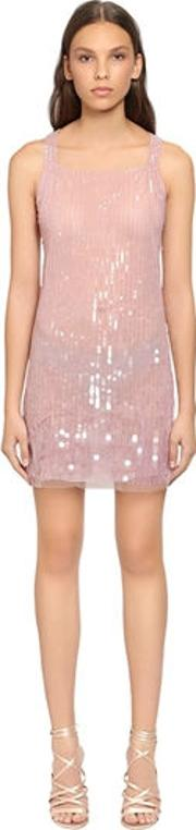 Beaded & Sequined Tulle Dress