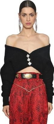 Mohair Blend Knit Cropped Cardigan
