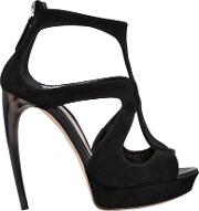 120mm Suede Cage Sandals