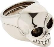 Divided Skull Silver Plated Brass Ring