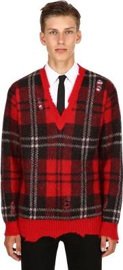 Plaid Mohair & Wool V Neck Sweater