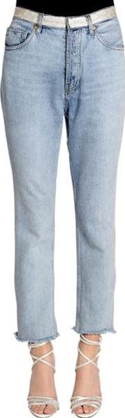 Crystal Waistband Washed Denim Jeans