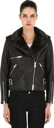 Balfern Leather Biker Jacket W Faux Fur