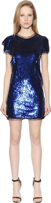 Short Sleeves Sequined Tulle Dress