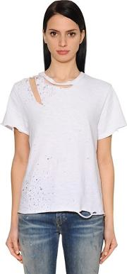 Destroyed Cotton Jersey T Shirt