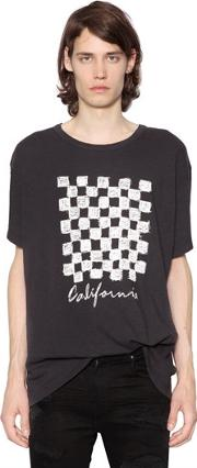 Distressed Printed Cotton T Shirt