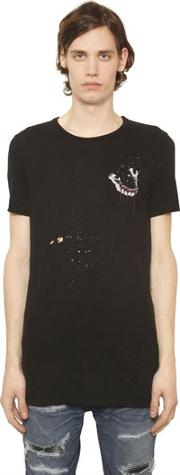 Printed Destroyed Cotton Jersey T Shirt