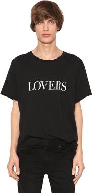 Printed Lovers Cotton Jersey T Shirt