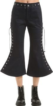 Flared Lace Up Cropped Pants