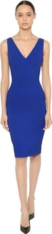 Stretch Cady V Neck Knee Length Dress