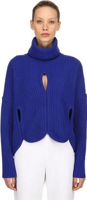Wool Turtleneck Sweater W Cutouts