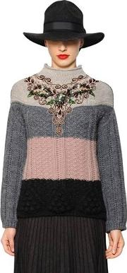 Floral Embroidered Wool Blend Sweater