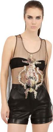 Sequined Angel Patches On Tulle Tank Top