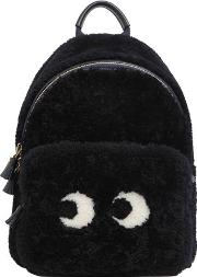 Mini Eyes Shearling Backpack