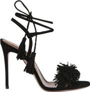 105mm Wild Things Fringed Suede Sandals